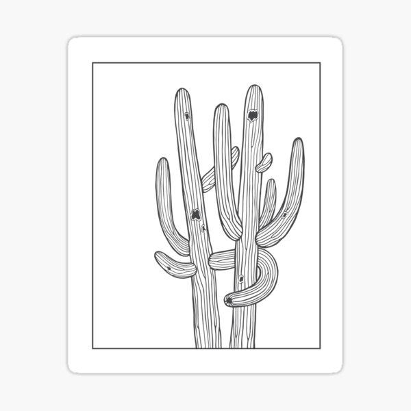 Saguaro Cactus Hug Line Sticker