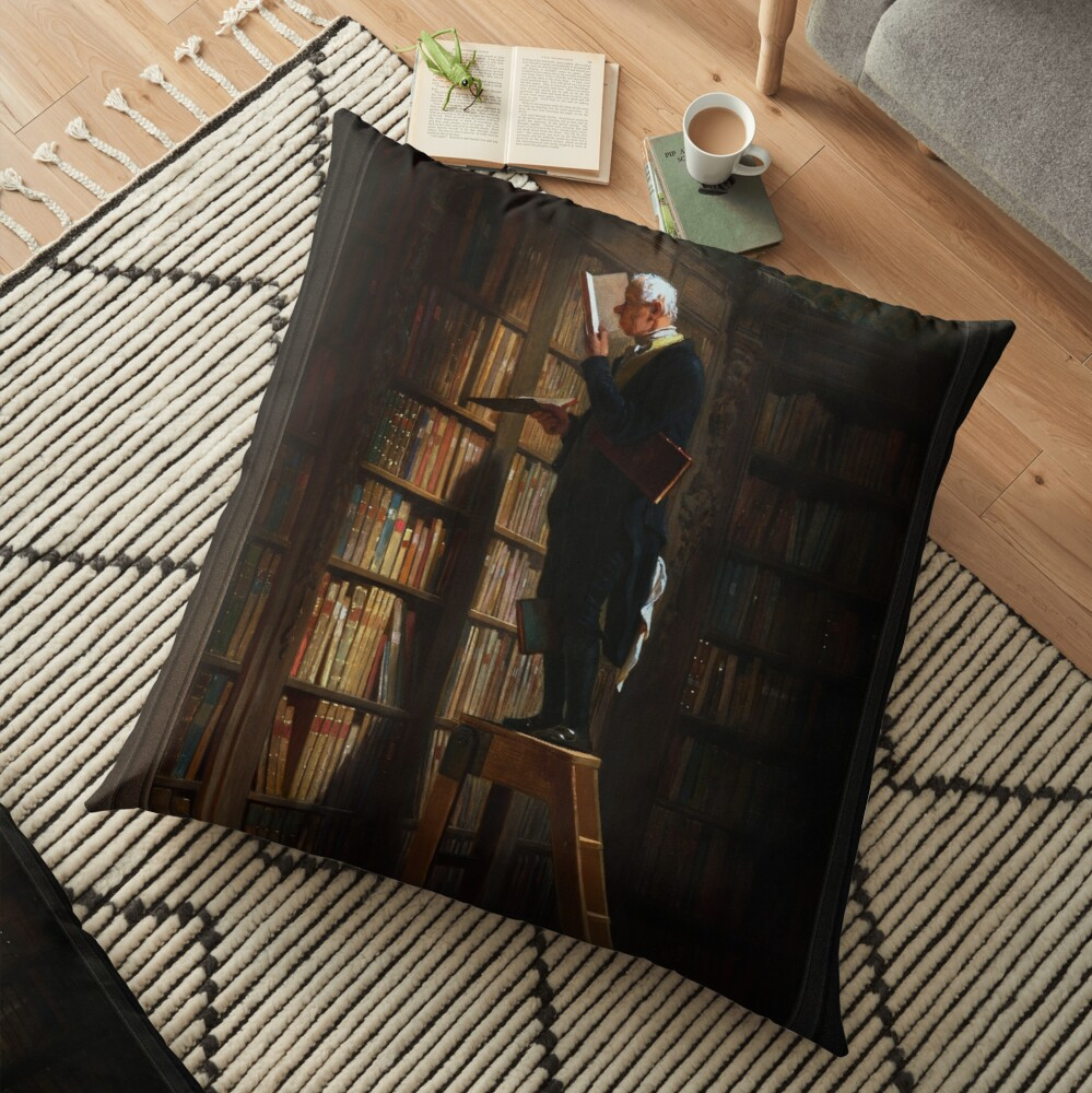The Bookworm by Carl Spitzweg Old Masters Fine Art Reproduction Floor Pillow
