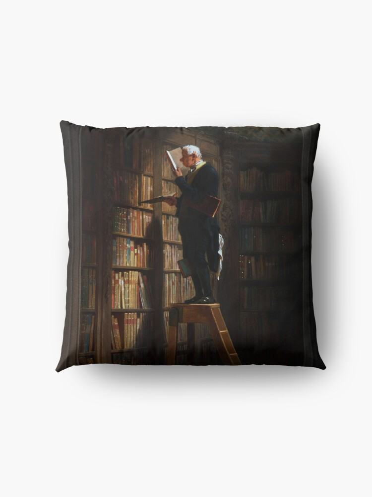 Alternate view of The Bookworm by Carl Spitzweg Old Masters Fine Art Reproduction Floor Pillow