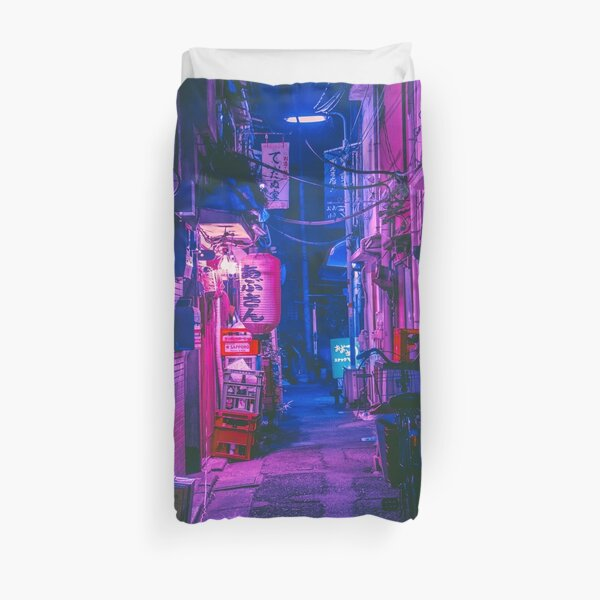 The Neon Alleyway Ghost Duvet Cover