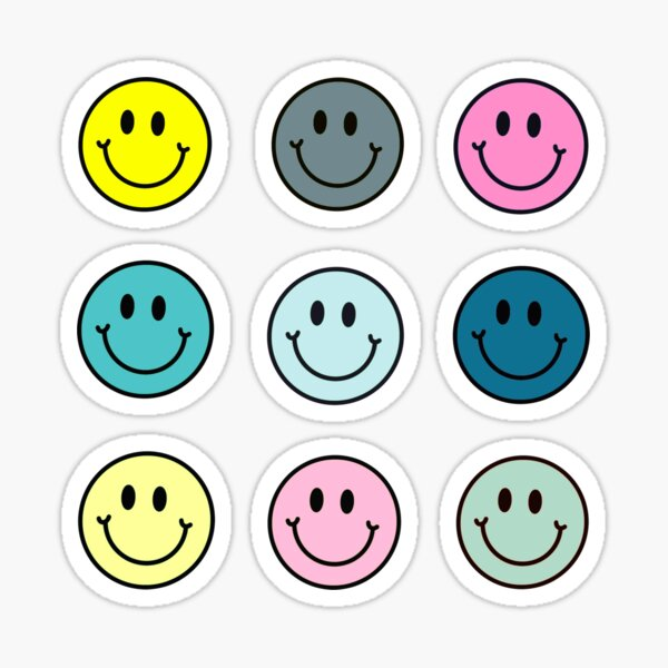 Smiley Face 9-Pack Stickers Pastel Pink Blue Green 90s Sticker
