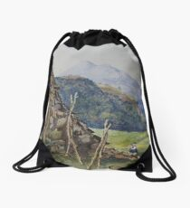 Watercolour of Mael Siabod & Snowdon from Betws y Coed, 1874 Drawstring Bag