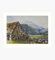 Watercolour of Mael Siabod & Snowdon from Betws y Coed, 1874 Art Print