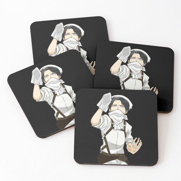 Attack on titan levi ackerman Coasters (Set of 4)