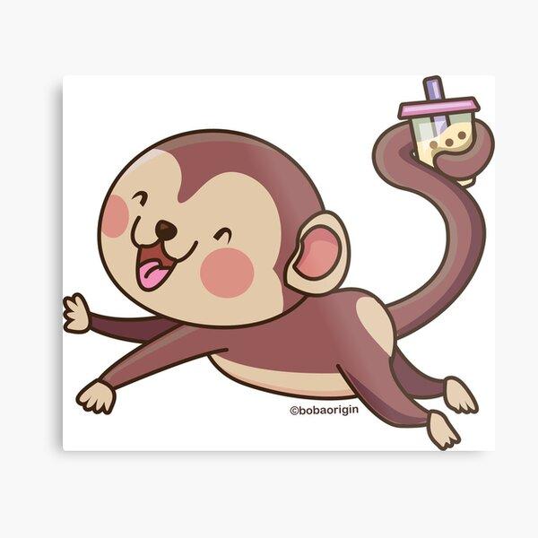 Cute Boba Monkey Metal Print