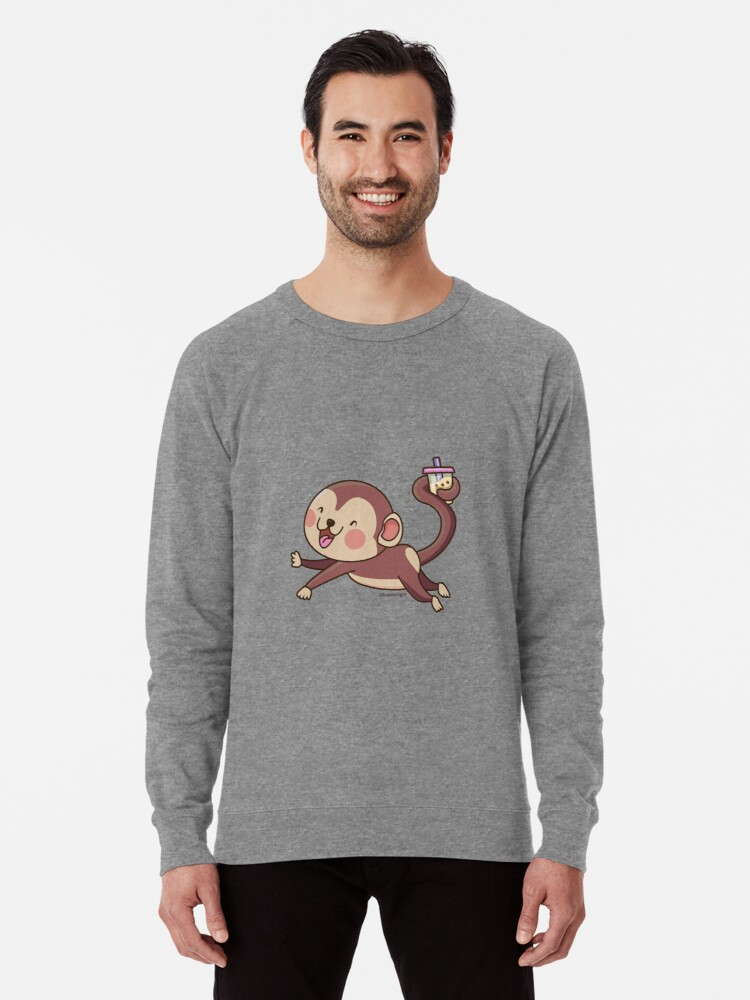 Alternate view of Cute Boba Monkey Lightweight Sweatshirt