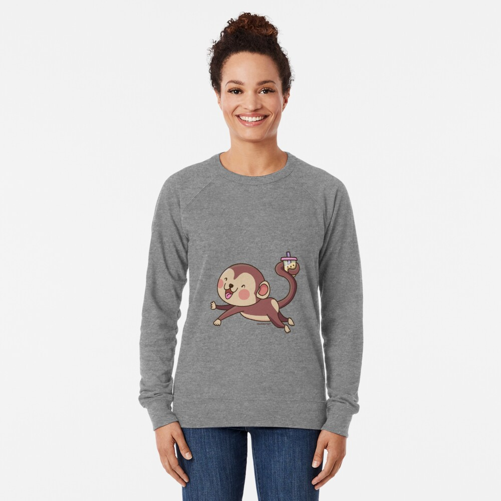 Cute Boba Monkey Lightweight Sweatshirt