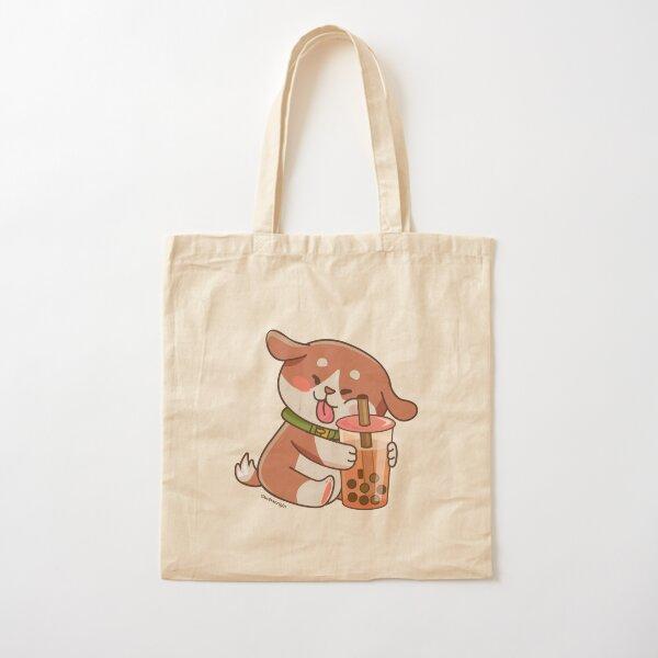 Cute Dog Boba Artwork Cotton Tote Bag
