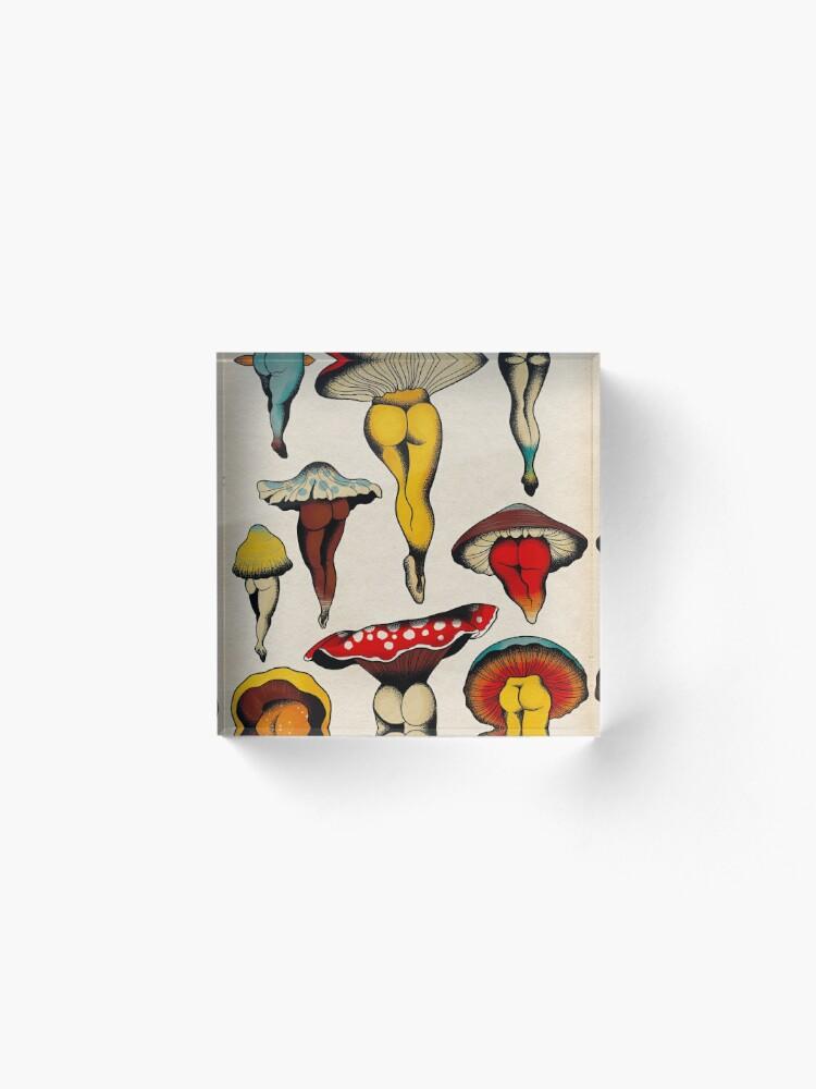 Alternate view of Sexy mushrooms tattoo flash Acrylic Block