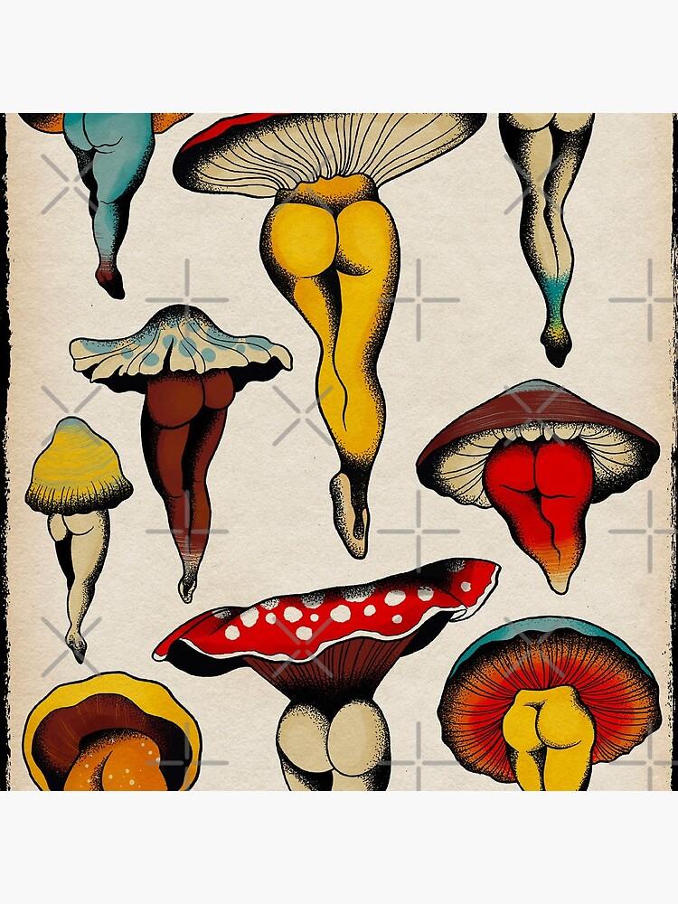 Sexy mushrooms tattoo flash by ceciliagranata