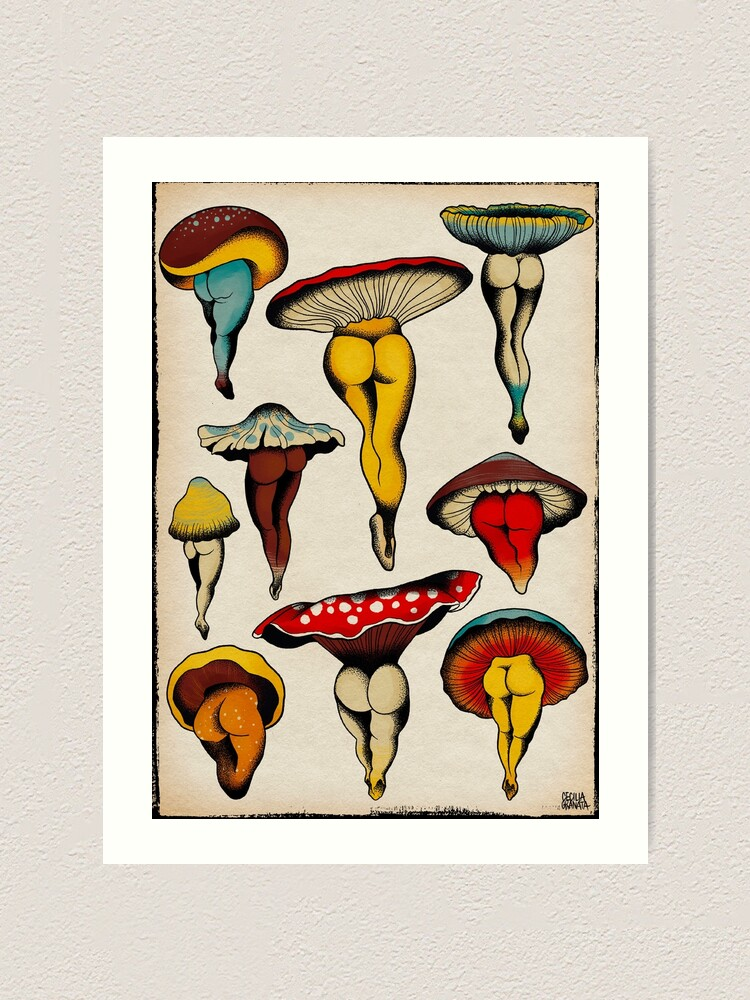 Alternate view of Sexy mushrooms tattoo flash Art Print
