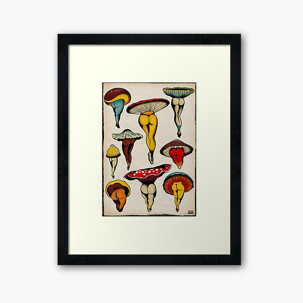 Sexy mushrooms tattoo flash Framed Art Print