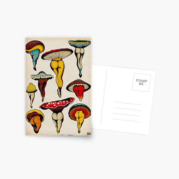 Sexy Pilze Tattoo Flash Postkarte