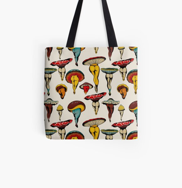 Sexy mushrooms tattoo flash All Over Print Tote Bag