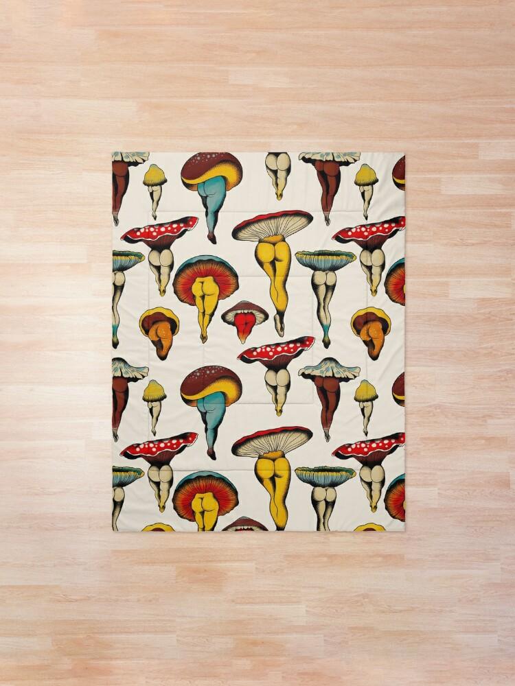 Alternate view of Sexy mushrooms tattoo flash Comforter