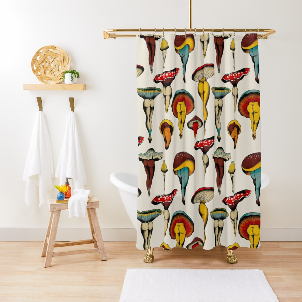 Sexy mushrooms tattoo flash Shower Curtain
