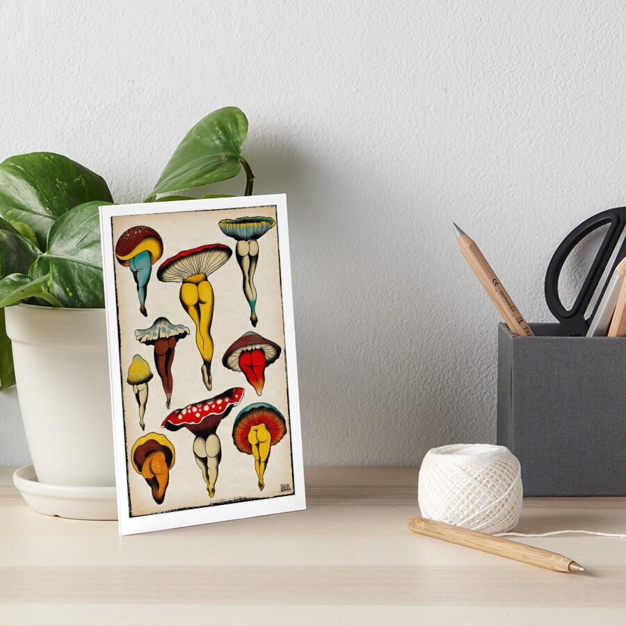 Sexy mushrooms tattoo flash Art Board Print