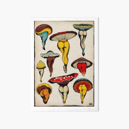 Sexy mushrooms tattoo flash Art Board Print