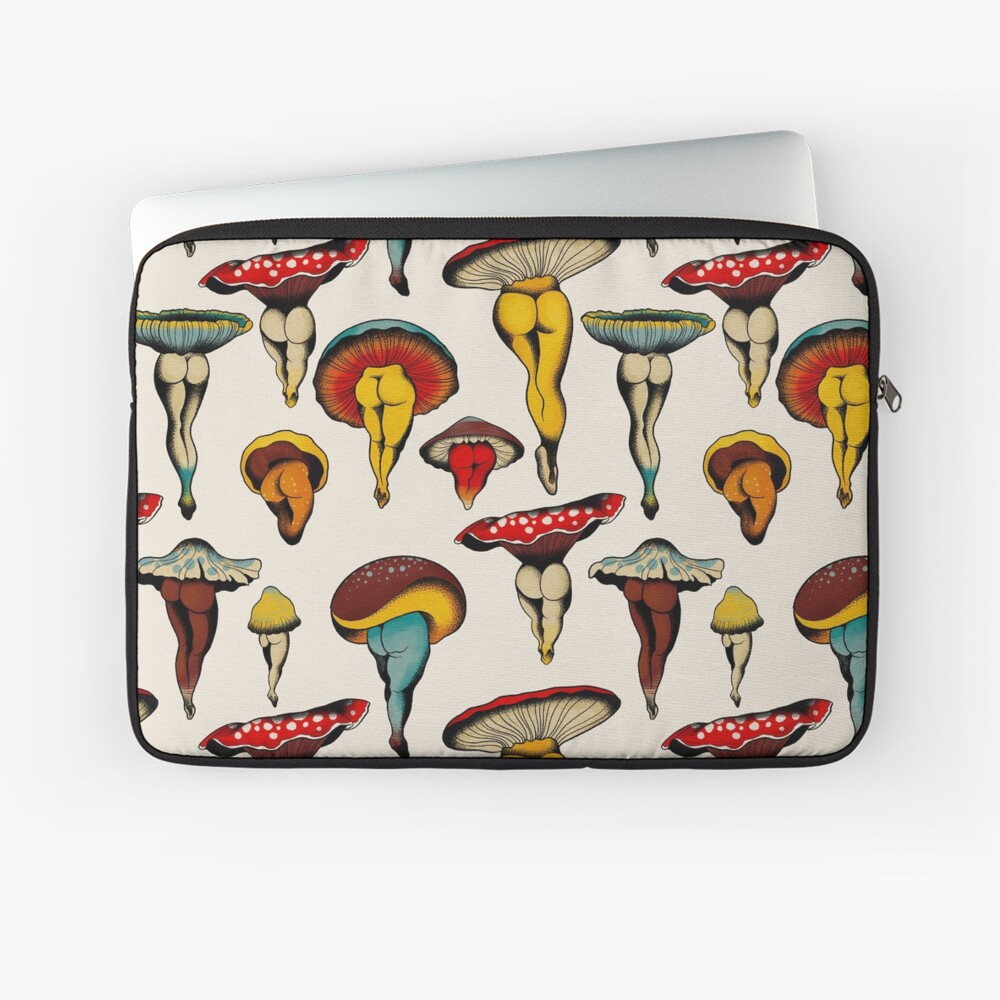 Sexy mushrooms tattoo flash Laptop Sleeve