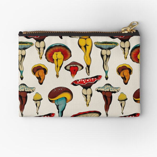 Sexy mushrooms tattoo flash Zipper Pouch