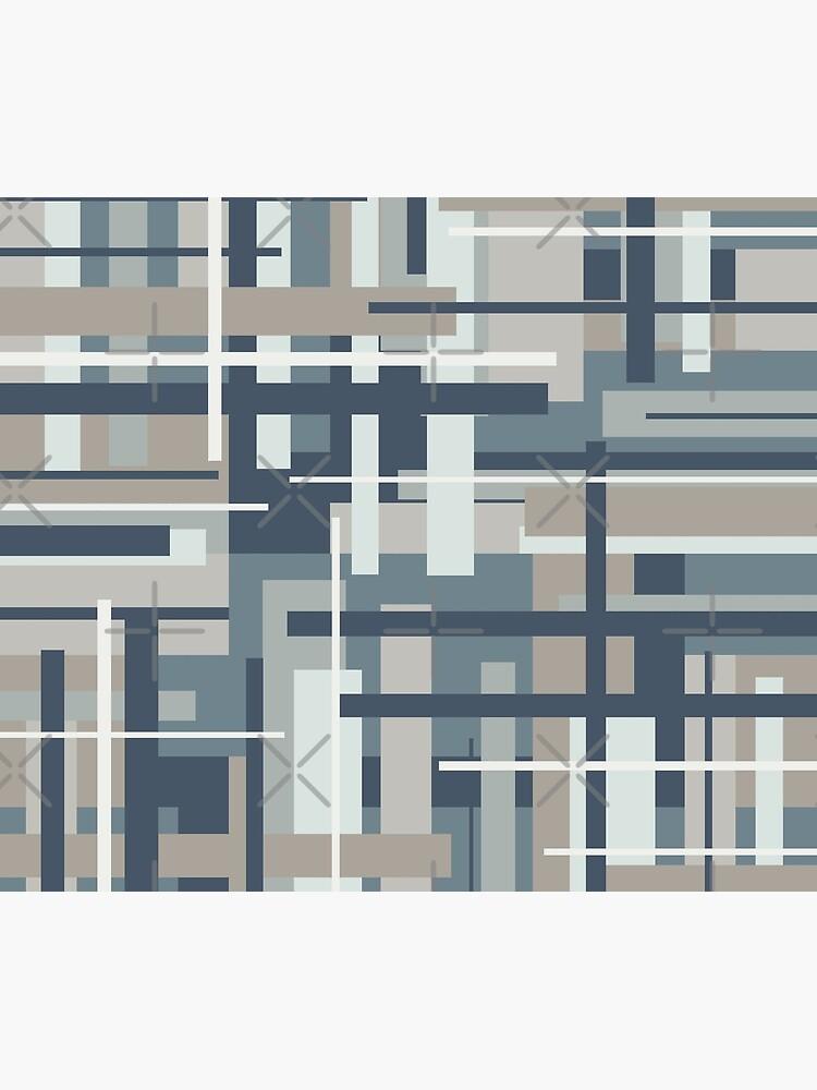 Frank - Mid Century Modern Geometric Pattern in Neutral Blue Grey by kierkegaard