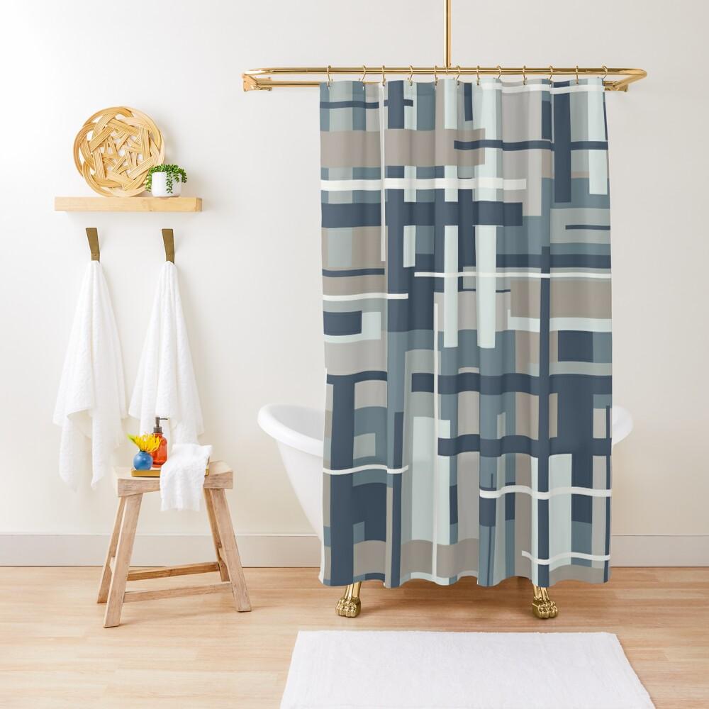 Frank - Mid Century Modern Geometric Pattern in Neutral Blue Grey Shower Curtain