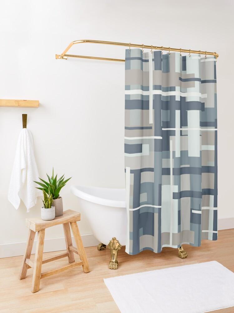 Alternate view of Frank - Mid Century Modern Geometric Pattern in Neutral Blue Grey Shower Curtain