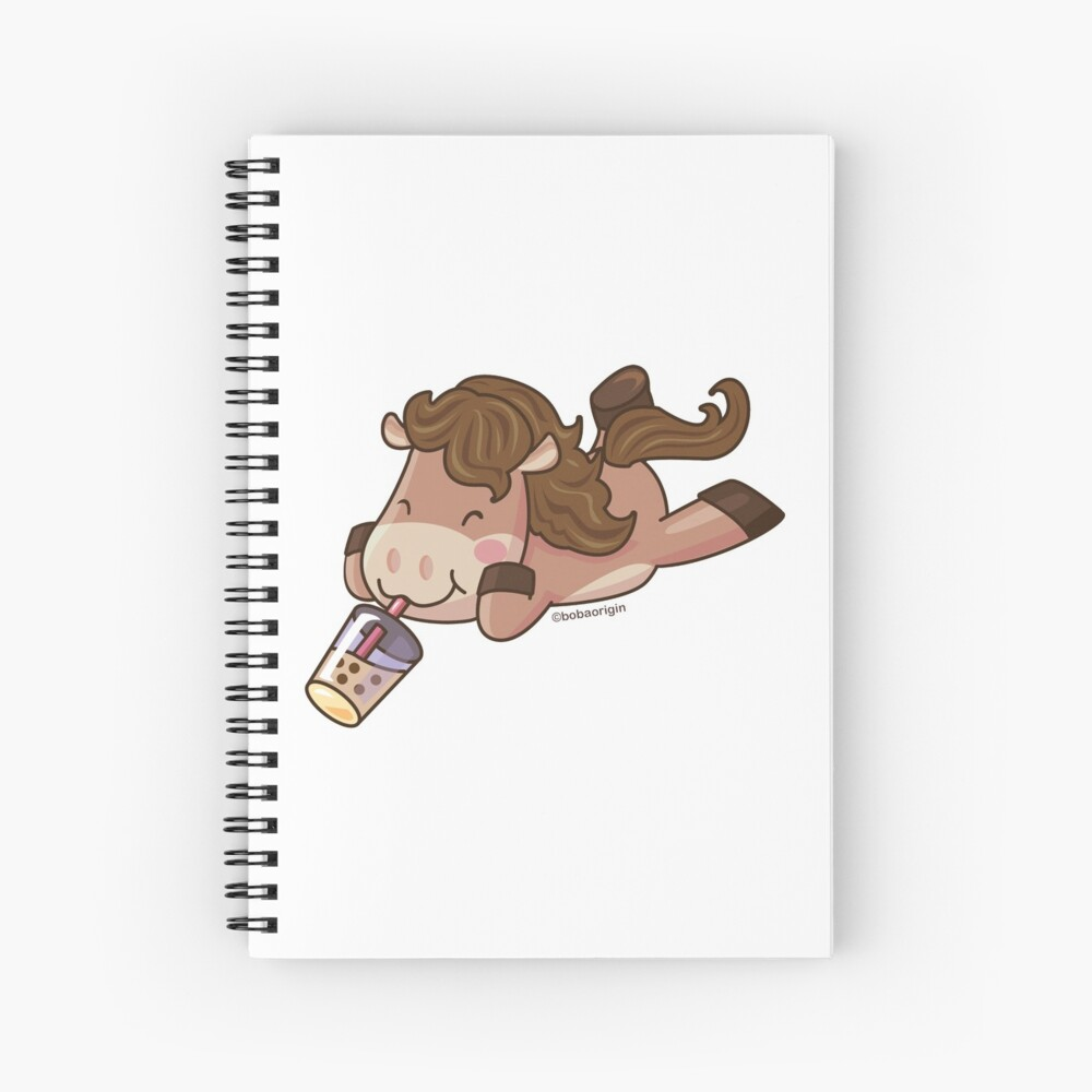 Cute Horse Sipping Boba Spiral Notebook