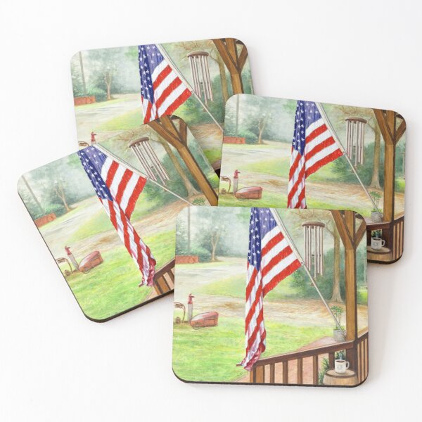Front Porch Freedom Coasters (Set of 4)