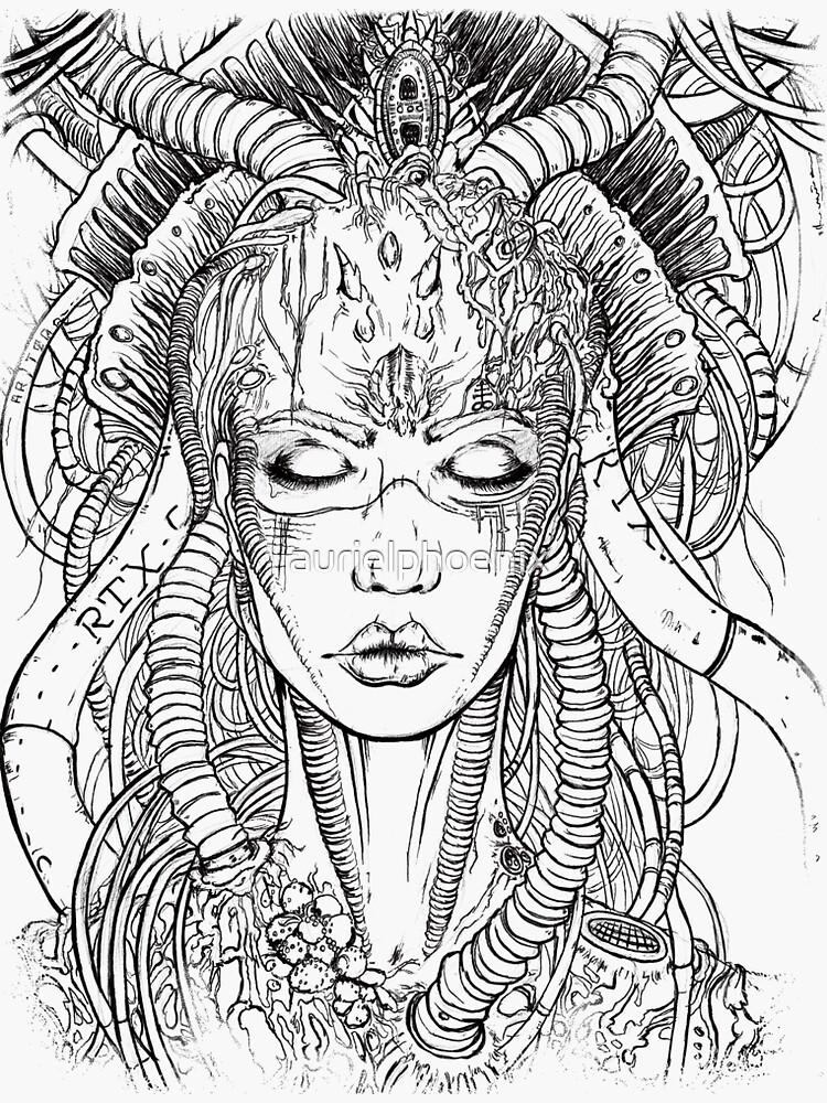 Comdroid Geisha - Comic Lineart Drawing by aurielphoenix