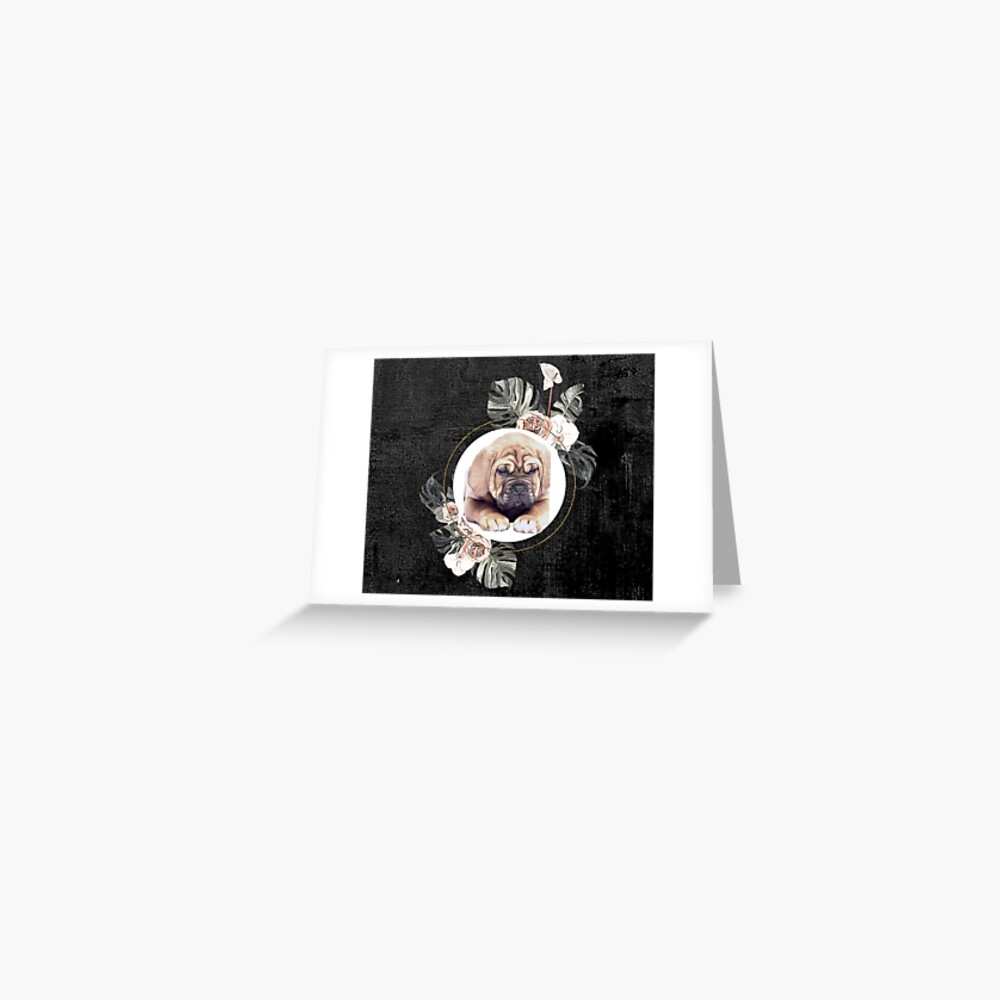 Shar Pei and flowers artwork Greeting Card