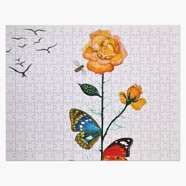 BUTTERFLY ROSE : Vintage Abstract Dali Painting Print Jigsaw Puzzle