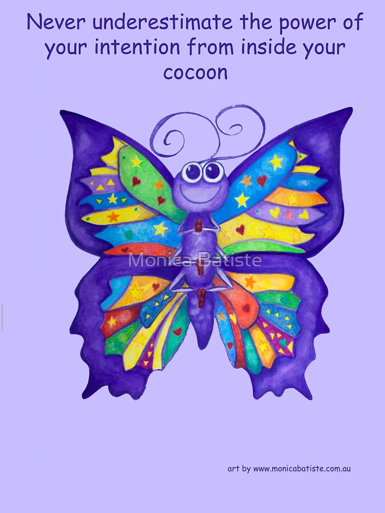 Yoga Butterfly in Namaste (purple background inspirational text) by Monica Batiste