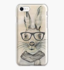 Cute funny watercolor bunny with glasses and scarf hand paint iPhone Case/Skin