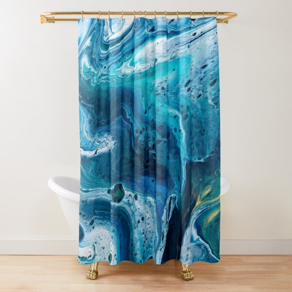 Hurricane Hallie (Marbled Acrylic Pour) Shower Curtain