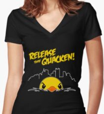 Release The Quacken Women's Fitted V-Neck T-Shirt