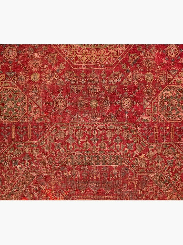Bohemian Medallion II // 15th Century Old Distressed Red Green Colorful Ornate Accent Rug Pattern by vintagepatterns