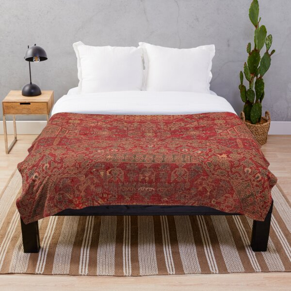 Bohemian Medallion II // 15th Century Old Distressed Red Green Colorful Ornate Accent Rug Pattern Throw Blanket