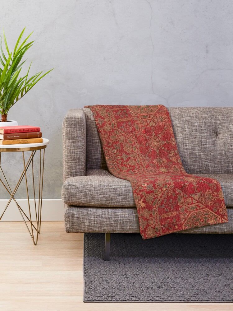 Alternate view of Bohemian Medallion II // 15th Century Old Distressed Red Green Colorful Ornate Accent Rug Pattern Throw Blanket