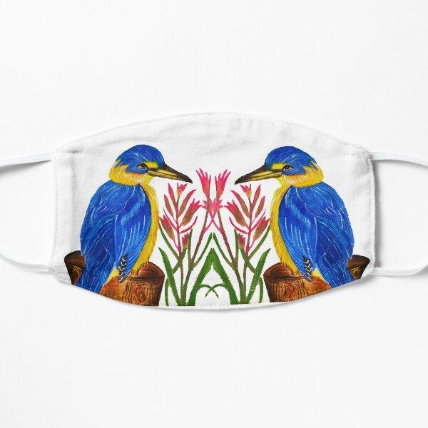 Pretty Kingfisher bird with kangaroo paw flower Mask