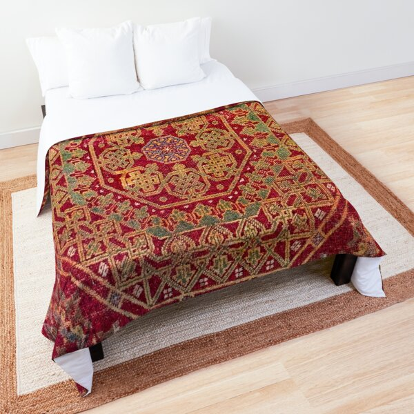 Bohemian Medallion VII // 15th Century Old Distressed Red Green Coloful Ornate Accent Rug Pattern Comforter
