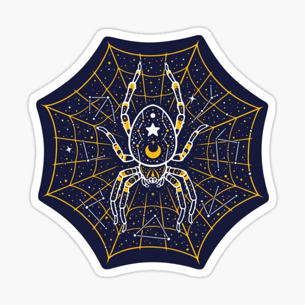 Celestial Spider on Starry Web Sticker