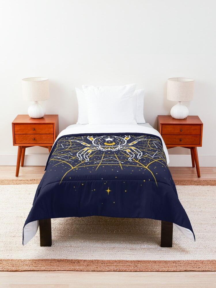 Alternate view of Celestial Spider on Starry Web Comforter