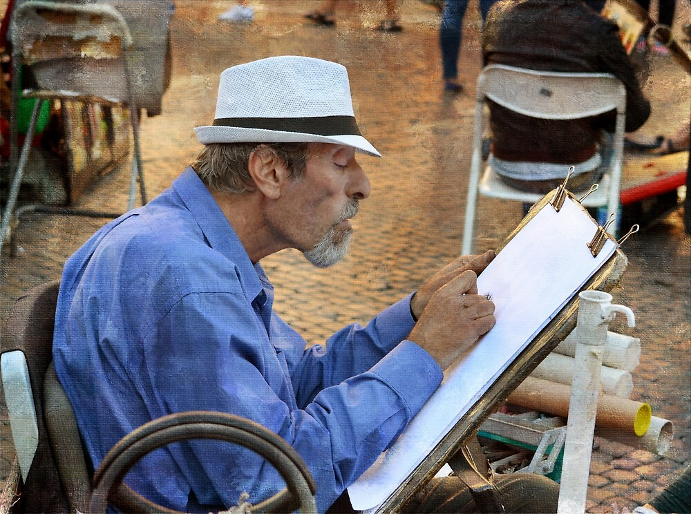 The cartoonist at Piazza Navona by rentedochan