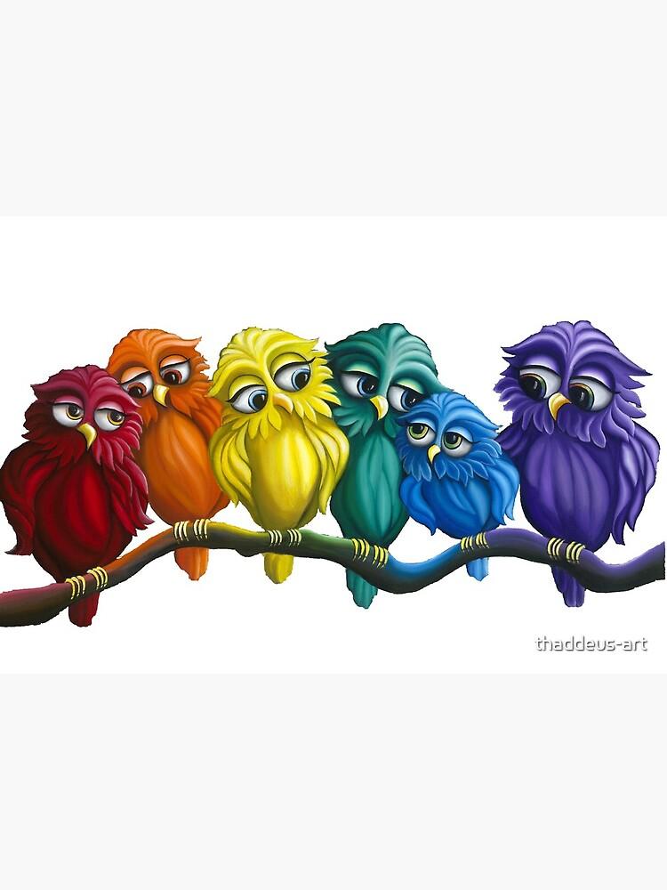 Rainbow Owls  by thaddeus-art