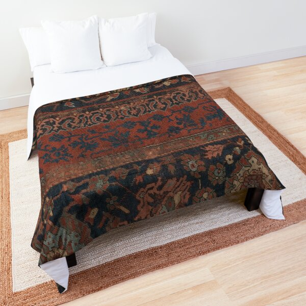 Boho Chic Dark III // 17th Century Colorful Medallion Red Blue Green Brown Ornate Accent Rug Pattern Comforter