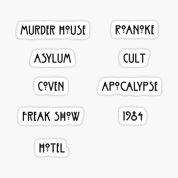 American Horror Story Season Names Sticker Set Sticker