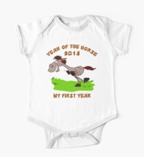 Born 2014 Year of The Horse Baby One Piece - Short Sleeve