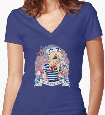 Squid Pro Quo Women's Fitted V-Neck T-Shirt