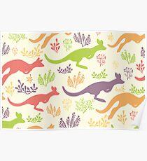 Jumping kangaroos pattern Poster